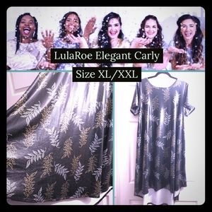 LulaRoe Elegant Carly Dress XL XXL Gold Leaves 🍁
